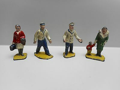 Vintage - MECCANO DINKY TOYS - HORNBY RAILWAY STATION - Lot of 4 LEAD FIGURES