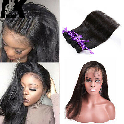 360 Lace Frontal Band Closure With Indian 4Bundles/200g Straight Weft Hair