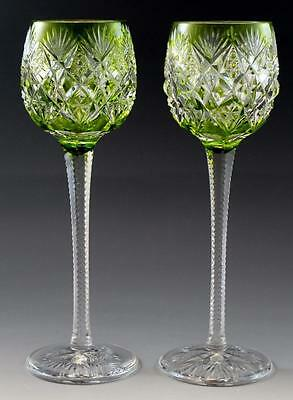 """Pair French St. Louis Florence Pattern Yellow Cut Crystal Hock Wine Goblets 9.5"""""""