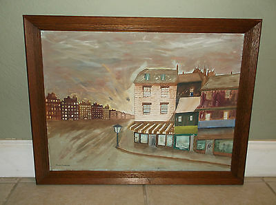 """Vintage Surrealistic Cityscape Oil On Canvas Signed """"fred Duncan"""""""