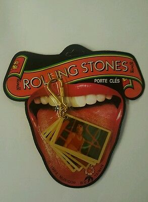 Vintage Carded Rolling Stones Key Ring Photo Picture Keychain 1983 Mick Jagger