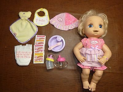 Lot 2006 Hasbro Baby Alive Soft Face Doll Food Juice Clothing Bottle Spoon Dish