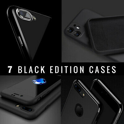 JET BLACK Case For Apple iPhone 8  7 6 6s 8 Plus 5c 5 5S 4 4S Gel Silicone Cover