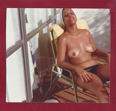 1970s Vintage Nude Photo~Busty Boobs Nudist Coed Pinups Sun Tan Outside in Chair