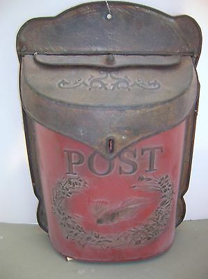 Vintage Chic Shabby Cottage RED Metal Mail box~Letter Holder Wall French Post