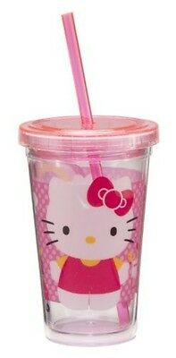 Vandor 18014 Hello Kitty 355ml Acrylic Travel Cup with Lid and Straw, Pink