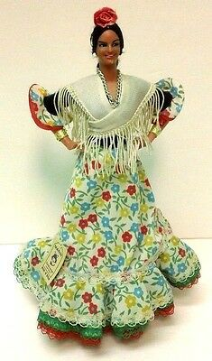 Marin Spanish Dancer Doll Figure Chiclana Andaluza Floral Dress With Tag Vtg 9""