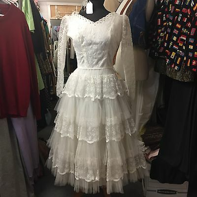 Vintage 1950s White Lace Wedding Dress Tea Ballerina Length Gorgeous Skirt