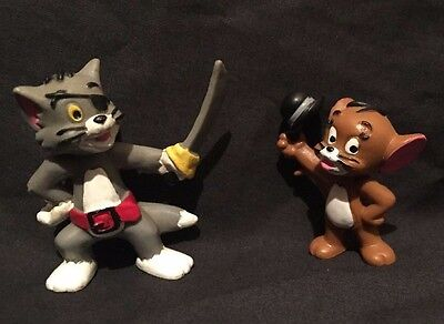 """2 Vintage Bully Tom & Jerry PVC Figures Cake Toppers 1987 handpainted 2.5"""" & 3"""""""