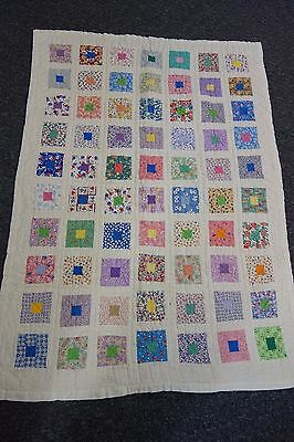 1940's Crib Quilt-EAST TO EDEN Pattern- 33x48-VG- Lots of Quilting-BRIGHT-PRETTY