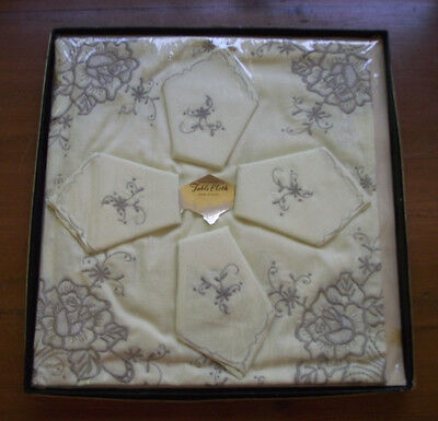 Vintage Embroidered Cotton Table Cloth & 4 Serviettes - Still in Box