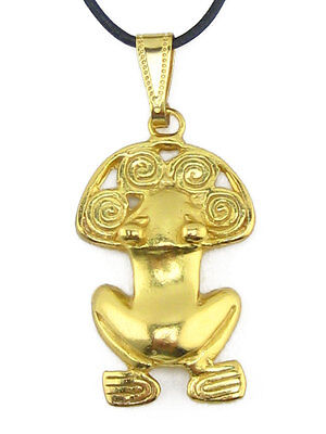 ACROSS THE PUDDLE Pre-Columbian 24k Gold Plated Frog with Spiralsg Pendant