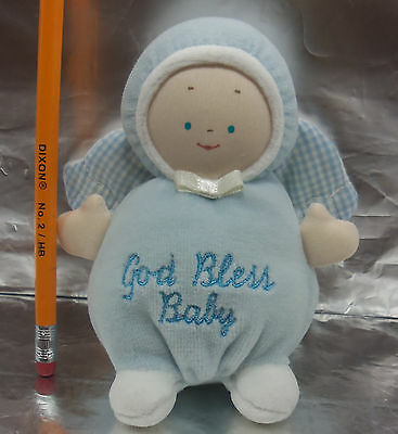 """BABY GUND Plush Blue Angel RATTLE 'GOD BLESS BABY' Toy LOVEY Security 5"""""""