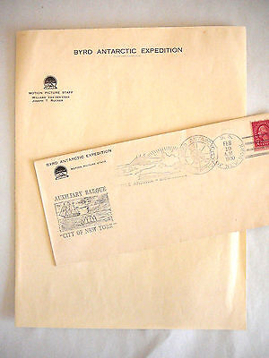 Rare 1930s Byrd Antarctic Expedition Stationary & Postmark Envelope Historical