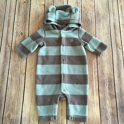 BABY GAP Teddy Bear Hooded Fleece Romper One Piece Size 0-3 Months
