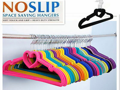 60x NON SLIP VELVET HANGER FLOCKED & BAR COAT CLOTHES TROUSERS HANGING AU STOCK
