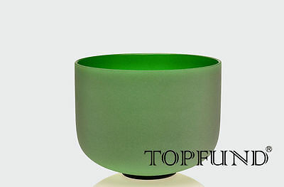 New Frosted F Heart Chakra Green Colored Quartz Crystal Singing Bowl 25 cm