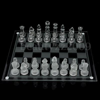 Megnetic Crystal Elegant 35x35cm Glass Chess Board Game Set +Mats+Checkers Piece
