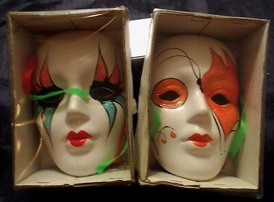 WALL MASKS Two Vintage Ceramic Face Mask Set MIMES Oriental Face Plaques THEATER