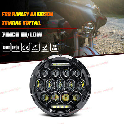 "7"" Round LED Daymaker BLACK CREE Hi/Lo Headlight For Harley Street Glide Softail"