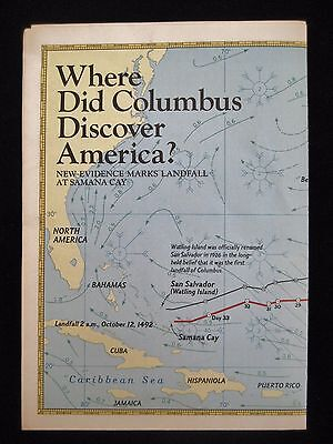 National Geographic Map Supplement 11, 1986 Where Did Columbus Discover America