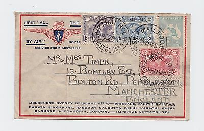 First air mail flight cover from AU to England 22nd April 1931 w/ kangaroo stamp