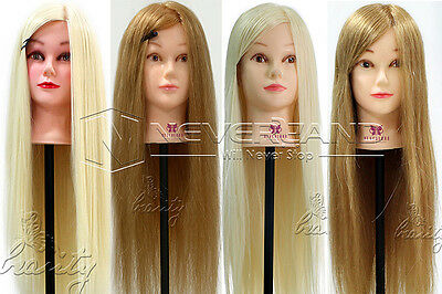 """26""""-30"""" 100% Real Hair Hairdressing Training Head Practice Mannequin Doll+ Clamp"""