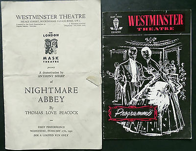 Westminster Theatre, Programme x 2, 1950s Nightmare Abbey & The Big Knife.