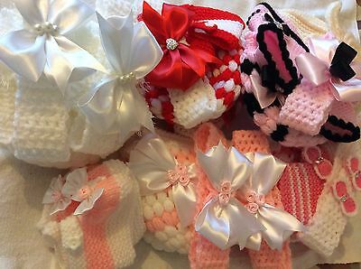 For Linda hand knitted /crochet baby girl booties/crochet hat 0-3 months