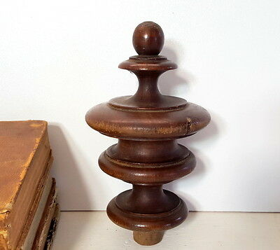 ANTIQUE FRENCH TURNED WOOD FINIAL END Furniture embellishment 4.84 inches
