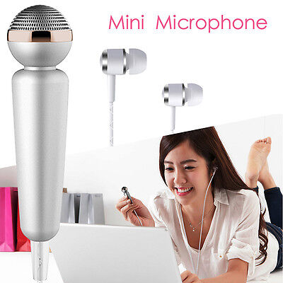 Portable Microphone Karaoke KTV W/ Earphone Omnidirectional For HTC Smartphone