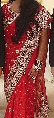 Red Asian Party Wear Saree