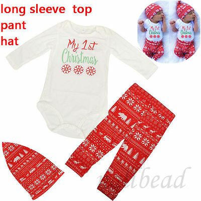 My 1st Christmas Baby Boys Girls Clothes Tops Romper Pants Hat Outfits 0-3 Month
