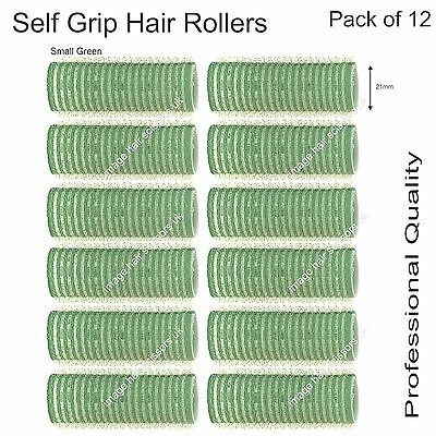 Soft Self Grip Cling Hair Curling Rollers SMALL GREEN 21mm Professional Pack 12