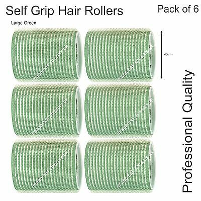 Soft Self Grip Cling Hair Curling Rollers LARGE GREEN 48mm Professional Pack 6