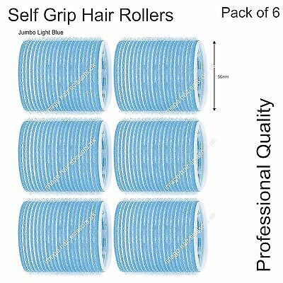 Soft Self Grip Cling Hair Curling Roller JUMBO LIGHT BLUE 56mm Professional Pk 6