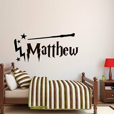 Wall Stickers Harry Potter wand custom name colour vinyl decal decor Nursery