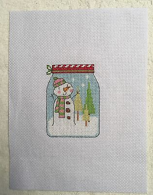 Completed cross stitch Tapestry - Christmas Snowman  in Jam Jar
