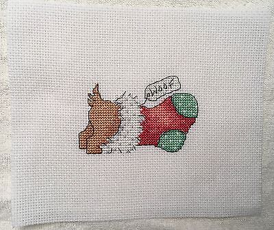 Completed cross stitch Tapestry - Christmas Dog Burrowing in Stocking
