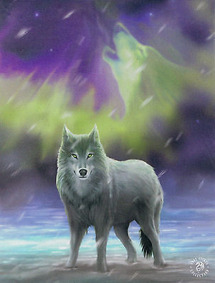 NEW Wolf Picture Aurora by Anne Stokes 25 cm x 19 cm Wall Plaque