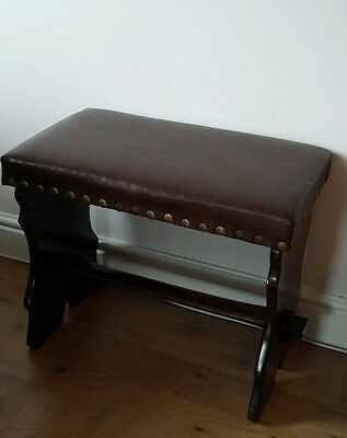 Vintage Hall stool with faux leather seat