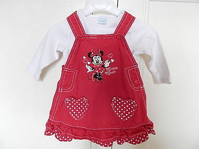 Disney Baby Girls Red/white Minnie Mouse Dress With Soft Long Sleeved Top 3-6 M