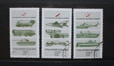 BULGARIA 1980 Armed Forces Aircraft Tanks. Set of 3. USED/CTO. SG2881/2883.
