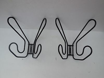 Set of Two Sturdy Metal Black Double Hat & Coat Hook