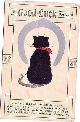 Good Luck Postcard Post 28 Dec 1910 Black Cat / Material Collectable Postmark 1D