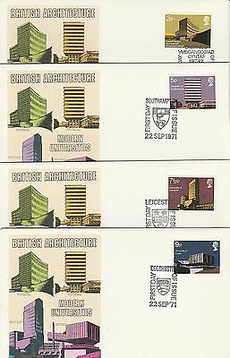 1971 GB Universities Stamps 4 Unaddressed First Day Covers Special PMKs Ref:A650