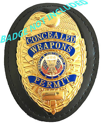 Police Security Leather Recessed Shield Badge Holder with Neck Chain, Belt Clip