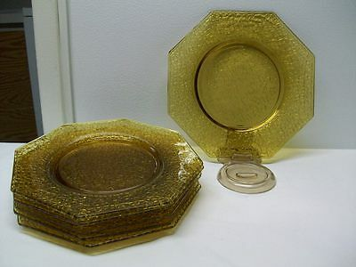 "Vintage L.E. Smith Glass Amber Crackle Glass Octagon 8"" Dinner Plates - 6 Plates"