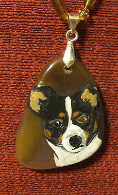 Rat Terrier hand painted on free form Agate pendant/bead/necklace