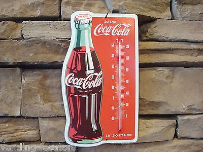 Vintage Style Metal Red Bottle Button Coca Cola Thermometer Embossed Sign New